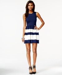 Bar Iii Colorblocked Fit And Flare Dress Navy Combo