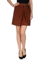 Hartford Knee Length Skirts Brown