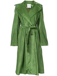 Rosie Assoulin Double Breasted Trench Coat Green