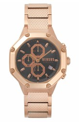 Versus By Versace Kowloon Chronograph Bracelet Watch 45Mm Rose Gold Grey