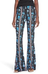 Hip Junior Women's H.I.P. Mixed Print Flare Leg Pants Floral Blue Pink