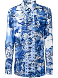 Versace Collection Printed Shirt Blue