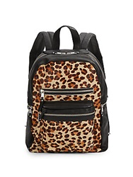 Ash Leopard Print Calf Hair And Leather Backpack
