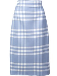Oscar De La Renta Checked Pencil Skirt Black