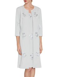 Gina Bacconi Embroidered Moss Crepe Coat Silver Mist