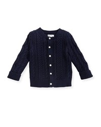 Ralph Lauren Soft Pearl Cotton Cable Knit Cardigan Navy 6 24 Months