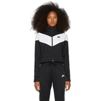 Nike Black And White Cropped Colorblocked Track Jacket