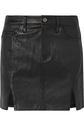Current Elliott Textured Leather Mini Skirt Black