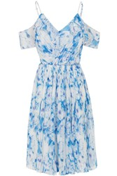 Wolf And Whistle Blue Floral Cold Shoulder Frill Dress Blue