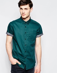 Asos Twill Shirt In Short Sleeve With Pigment Print Green
