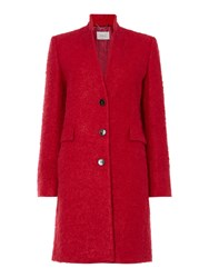 Marella Fluffy Wool Single Breasted Coat Red