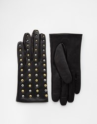 Asos Leather Gloves With Stud Detail And Touch Screen Black