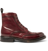 O'keeffe Felix Polished Leather Wingtip Brogue Boots Burgundy