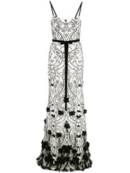 Marchesa Notte 3D Floral Feather Gown White
