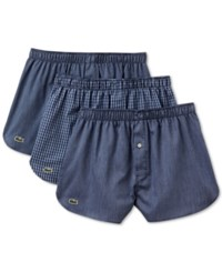 Lacoste Men's 3 Pack Gingham Cotton Boxers Navy