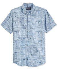 American Rag Men's Patchwork Hieroglyph Print Shirt Only At Macy's Blue Wash