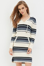 Forever 21 Stripe Hooded Sweater Dress Blue Multi
