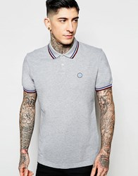 Pretty Green Polo With Contrast Tipping In Grey Grey
