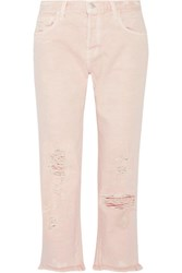 J Brand Ivy Cropped Distressed High Rise Straight Leg Jeans Pastel Pink