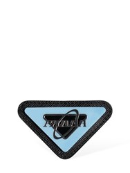 Prada Logo Saffiano Leather Pin Black