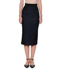 Dolce And Gabbana Denim Fishtail Back Pencil Midi Skirt Indigo
