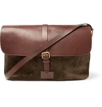 Andersons Suede And Full Grain Leather Messenger Bag Brown