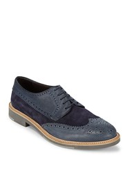 Canali Round Toe Leather Brogues Dark Blue