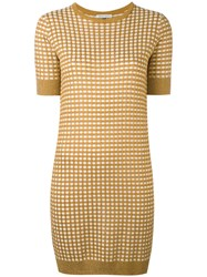 Bella Freud Sparkle Gingham Knit Dress Women Rayon Wool Metallic Fibre M Nude Neutrals