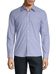 Hyden Yoo Slim Dotted Cotton Button Down Shirt Blue