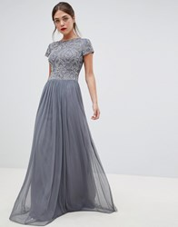 Frock And Frill Pleated Maxi Dress With Embellished Upper Grey Flint