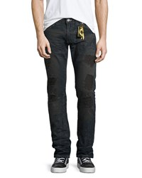 Robin's Jeans Five Pocket Denim With Stamped Detail Blue