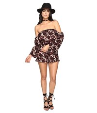 Brigitte Bailey Finley Off The Shoulder Romper Burgundy Women's Jumpsuit And Rompers One Piece