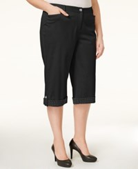 Jm Collection Woman Jm Collection Plus Size Studded Cuffed Capri Pants Only At Macy's Deep Black