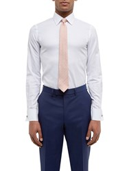 Jaeger Dobby Cotton Double Cuff Slim Fit Shirt White