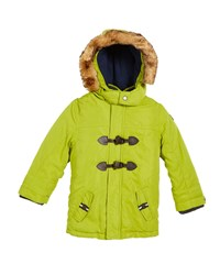 Mayoral Hooded Toggle Front Parka With Faux Fur Trim Green