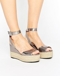 Head Over Heels By Dune Kalmia Espadrille Flatform Sandals Pewter Silver