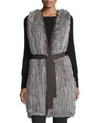 Halston Fur Front Sweater Vest W Belt Stone Grey