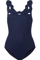 Karla Colletto Havana Scalloped Swimsuit Navy