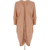 River Island Womens Light Brown Ruched Back Longline Cardigan