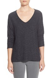 Petite Women's Gibson 'Yummy Fleece' High Low V Neck Pullover Black