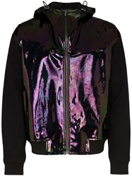 Givenchy Holographic Panel Zip Front Jacket Black