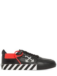 Off White Low Vulcanized Leather Sneakers Black