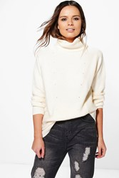 Boohoo Soft Knit Oversized Jumper Cream
