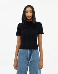 Farrow Claudine Cable Knit Top In Black Size Small