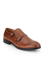 French Connection Floyd Leather Monk Strap Shoes Cognac