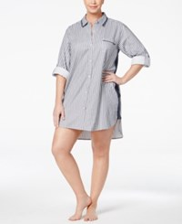 Dkny Plus Size Patterned Flannel Boyfriend Sleepshirt Stripe