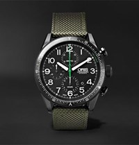 Oris Paradropper Limited Edition Automatic Chronograph 44Mm Titanium And Canvas Watch Black