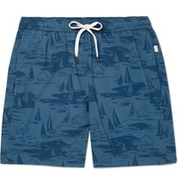 Onia Charles Mid Length Printed Swim Shorts Navy