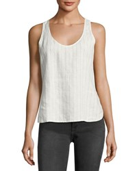Frame Racerback Striped Linen Tank Top White