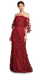 Marchesa Notte Ots Flutter Sleeve Embroidered Gown